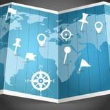 Mappa di mondo con differenti perni Immagini Stock Libere da Diritti