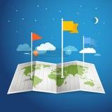 Mappa di mondo con differenti segni Fotografie Stock