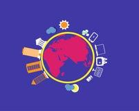 Mappa di mondo con gli oggetti di finanza Immagini Stock Libere da Diritti