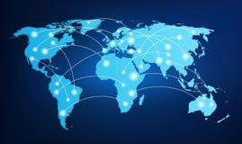 Mappa di mondo con i collegamenti globali Immagine Stock