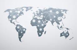 Mappa di mondo con i collegamenti globali royalty illustrazione gratis
