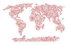 Mappa di mondo con i cuori royalty illustrazione gratis