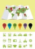 Mappa di mondo con i perni e le icone Fotografia Stock Libera da Diritti