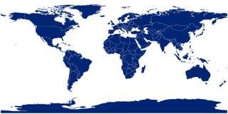 Mappa di mondo con i poligoni del paese - marina scura 15X30 blu- immagini stock