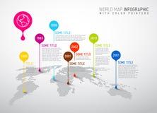 Mappa di mondo con i segni del puntatore Immagini Stock