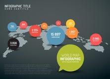 Mappa di mondo con i segni del puntatore Fotografie Stock Libere da Diritti