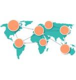 Mappa di mondo con i segni di informazioni del cerchio su bianco Immagine Stock Libera da Diritti