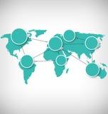 Mappa di mondo con i segni di informazioni del cerchio sulla gradazione di grigio Fotografia Stock