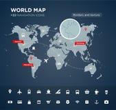 Mappa di mondo con 22 icone Fotografia Stock Libera da Diritti
