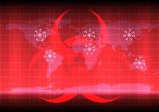 Mappa di mondo con il bio- symblo di rischio sul fondo di colore rosso illustrazione vettoriale