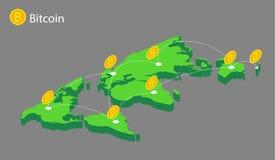 Mappa di mondo con il bitcoin delle monete Immagine Stock