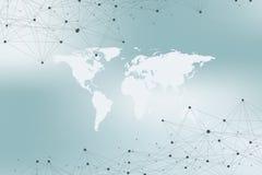 Mappa di mondo con il concetto globale della rete di tecnologia Visualizzazione di dati di Digital Allinea il plesso Grande fondo Fotografie Stock Libere da Diritti