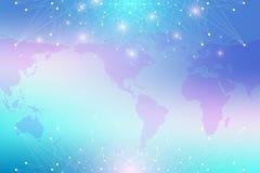 Mappa di mondo con il concetto globale della rete di tecnologia Visualizzazione di dati di Digital Allinea il plesso Grande fondo Immagini Stock Libere da Diritti