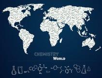 Mappa di mondo con il fondo di chimica Immagine Stock Libera da Diritti
