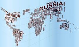 Mappa di mondo con il nome di paese Fotografie Stock Libere da Diritti