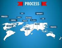 Mappa di mondo con l'etichetta trattata nelle lingue differenti illustrazione vettoriale