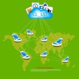 MAPPA di mondo con la comunicazione illustrazione vettoriale