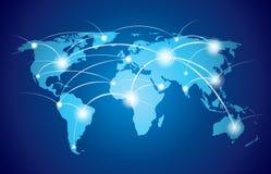 Mappa di mondo con la rete globale Fotografia Stock Libera da Diritti