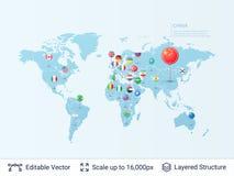 Mappa di mondo con le bandiere Fotografia Stock Libera da Diritti