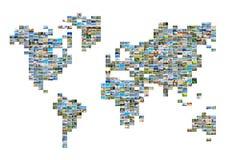 Mappa di mondo con le foto Fotografia Stock Libera da Diritti