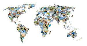 Mappa di mondo con le foto Immagini Stock