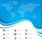 Mappa di mondo con le icone Fotografia Stock Libera da Diritti