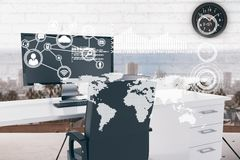 Mappa di mondo con le icone del collegamento nella cabina dell'ufficio Immagine Stock