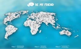 Mappa di mondo con le icone della gente Immagine Stock Libera da Diritti