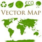 Mappa di mondo con le icone di ecologia Fotografia Stock Libera da Diritti