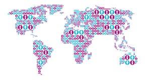 Mappa di mondo con le icone maschii e femminili Fotografia Stock