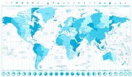 Mappa di mondo con le tinte molli delle fasce orarie standard del blu e dell'orologio Fotografia Stock