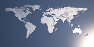 Mappa di mondo con sollievo Immagini Stock Libere da Diritti