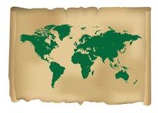 Mappa di mondo d'annata Fotografia Stock Libera da Diritti