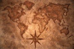 Mappa di mondo d'annata Fotografie Stock Libere da Diritti