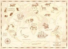 Mappa di mondo d'annata con gli animali selvatici e le montagne Creature del mare nell'oceano Vecchia retro pergamena fauna selva illustrazione di stock