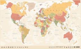 Mappa di mondo d'annata ed indicatori - illustrazione di vettore Fotografie Stock