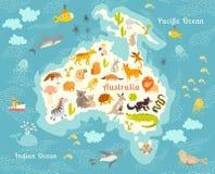 Mappa di mondo degli animali, Australia Immagini Stock Libere da Diritti