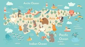 Mappa di mondo degli animali, l'Eurasia Immagine Stock Libera da Diritti