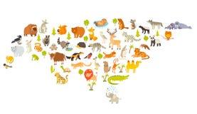 Mappa di mondo degli animali, l'Eurasia Illustrazione variopinta di vettore del fumetto per i bambini ed i bambini Fotografia Stock Libera da Diritti