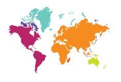 Mappa di mondo dei continenti Europa Australia America del mondo Fotografie Stock Libere da Diritti