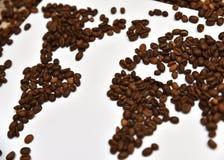 Mappa di mondo del caffè Immagine Stock