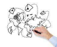 Mappa di mondo del disegno della mano Immagini Stock Libere da Diritti
