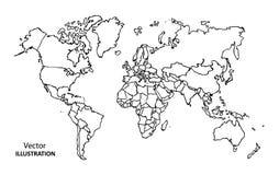 Mappa di mondo del disegno della mano con i paesi Fotografie Stock Libere da Diritti