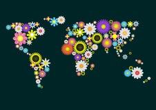 Mappa di mondo del fiore Immagine Stock Libera da Diritti