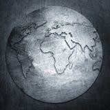 Mappa di mondo del fondo del metallo Fotografie Stock