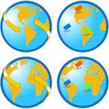 Mappa di mondo del globo Fotografie Stock