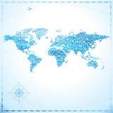 Mappa di mondo del pixel Immagini Stock Libere da Diritti