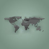 Mappa di mondo del poligono su un fondo verde, illustrazione Fotografia Stock
