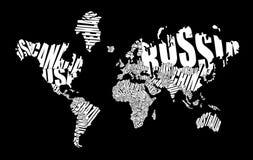 Mappa di mondo del testo Immagine Stock