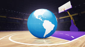 Mappa di mondo dell'America sul campo da pallacanestro all'arena Immagini Stock
